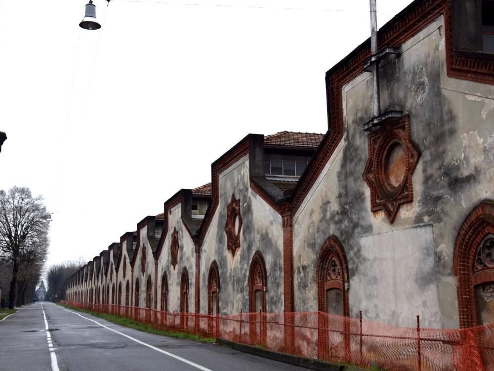 Villaggio Operaio di Crespi d'Adda, veduta prospettica della fabbrica