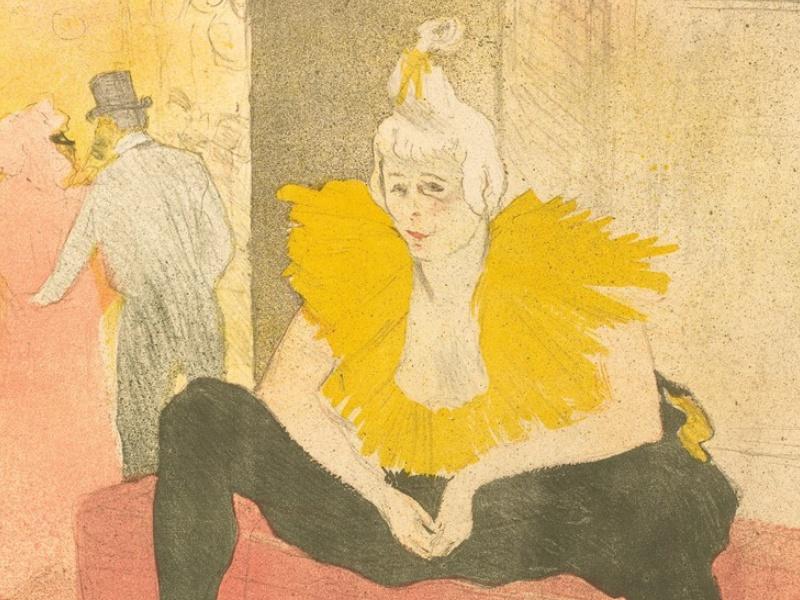 Henri de Toulouse-Lautrec, La clownesse assise, Mademoiselle Cha-U-Kao (particolare), 1896, litografia a colori, Bnf, Parigi